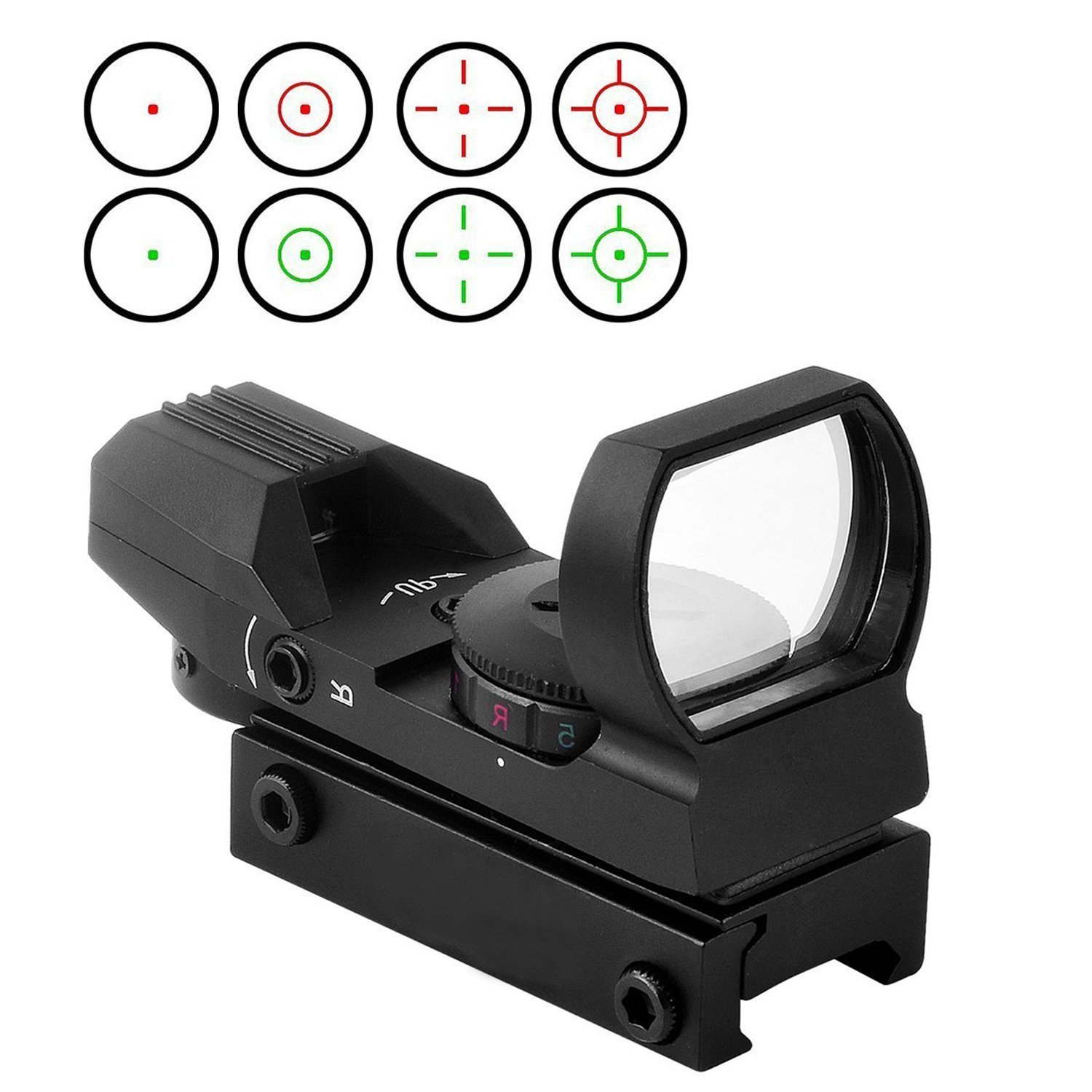 Freehawk®Gun Scope/Gun Sight/Scope Sight/Airsoft Scope/Rifle Scope with Weaver/Picatinny Rial Mount, Tactical 4 Reticle Red Dot Open Reflex Sight Scope for 22mm/11mm Outdoor Shooting