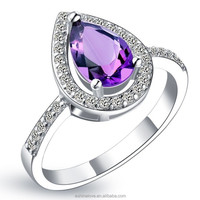 Silver Plated Valentine Gift Teardrop Amethyst Color Zircon Forever Love Ring CRI0050-B