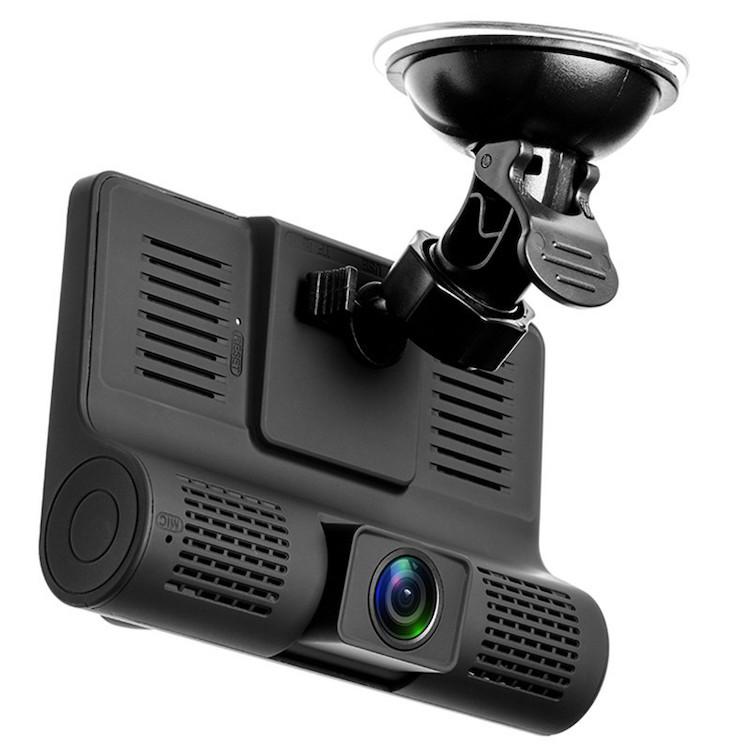 2019 hot selling 4 inch HD screen 3 lens car DVR Full HD 1080P dash camera night vision Video Recorder, Black