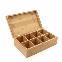 Amazon Top Seller Bamboo Tea Storage Chest Box with 8 Compartments
