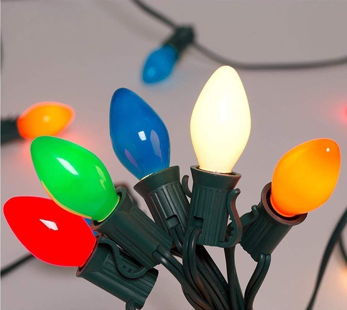 25FT Outdoor C7 Multicolored ceramic Christmas Lights String Set - Indoor/Outdoor Christmas Light String - Christmas Tree Lights - Hanging Christmas Lights - Outdoor Patio String Lights - Green Wire