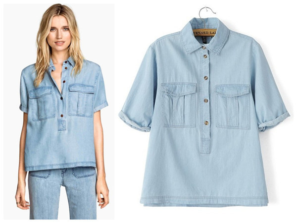 Get Quotations · Retro Denim Shirts Womens Tops Fashion 2015 Turn-down  Collar Pockets Jeans Female Shirt Slim 34ed4e3d2