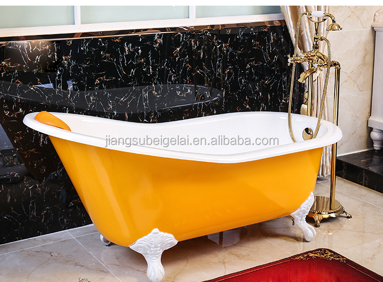 66 inches single ended cheap cast iron soaking tub
