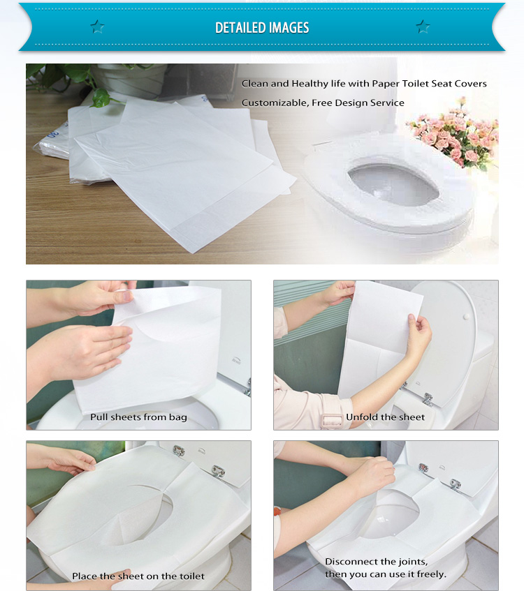 1/16 fold travel pack custom printed disposable flushable paper toilet seat covers