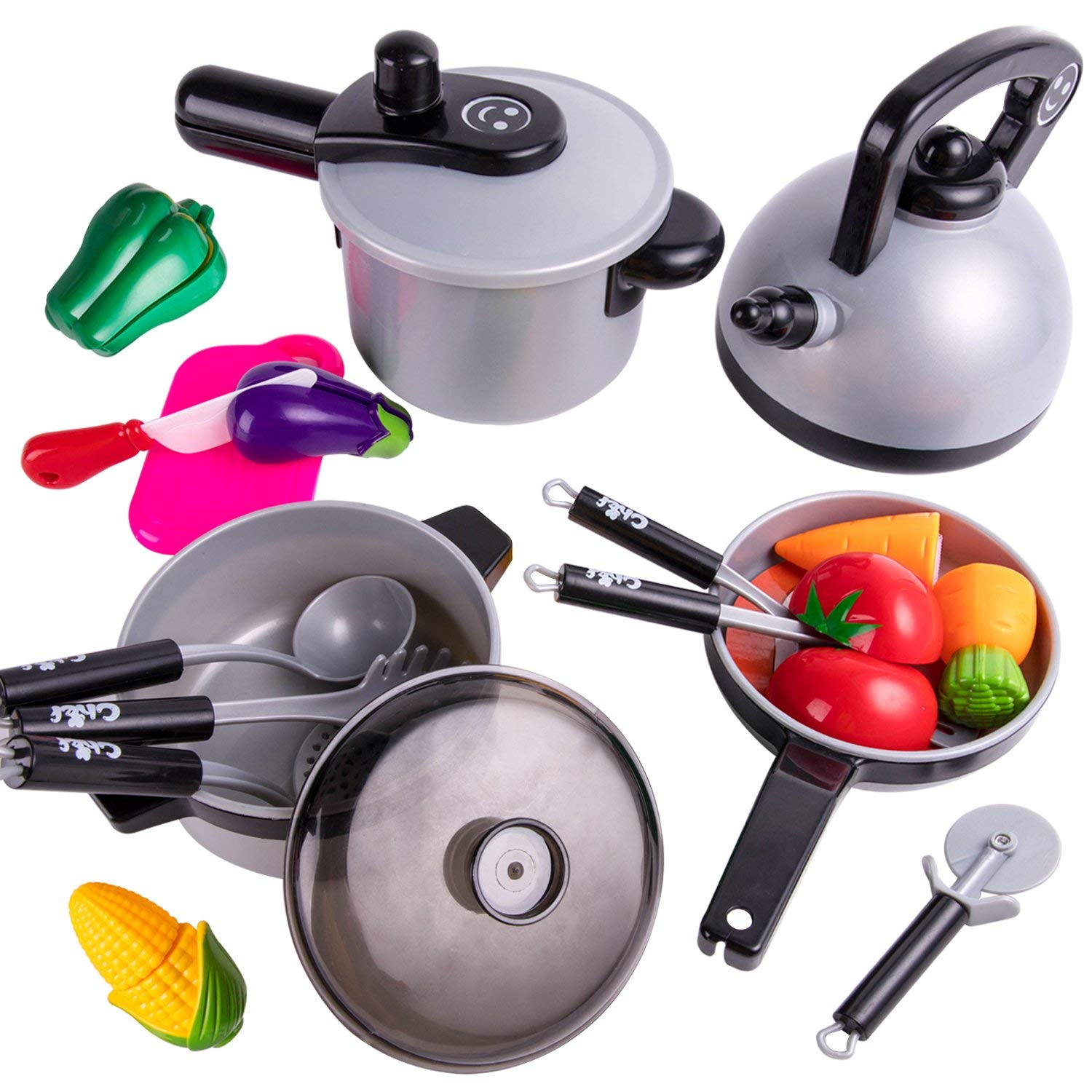 Pretend Play Kitchen Cooking Set, Pots and Pans, Kids Cookware Playset, Cutting Vegetables, Knife, Development Utensils Toys for Ages 2, 3, 4, 5 Year Olds Kids, Baby, Girls, Boys, Toddlers
