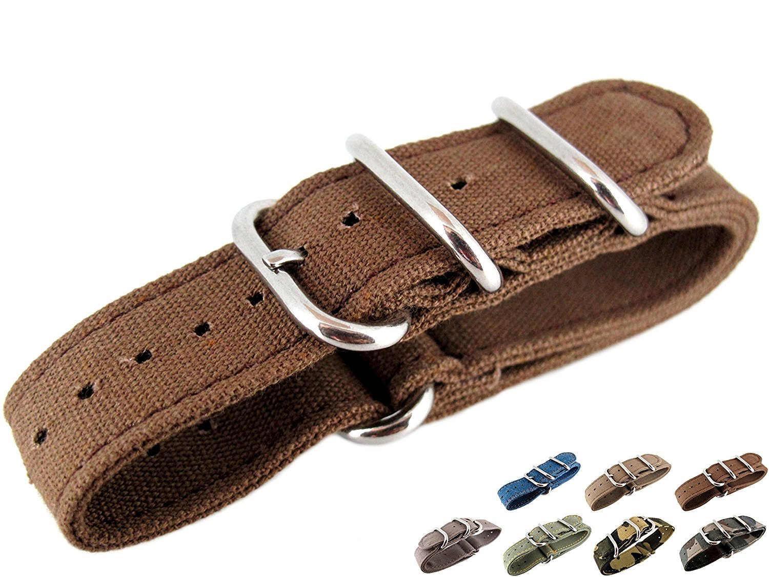 20mm Watch Strap Zulu Nato Band Watchband Premium Canvas Brown Sports Military Army 3 Solid Polishing Round Ring Buckle Wrist Length 150 To 220mm 1.8mm Thickness Fashion Trend NYS111 JRRS7777