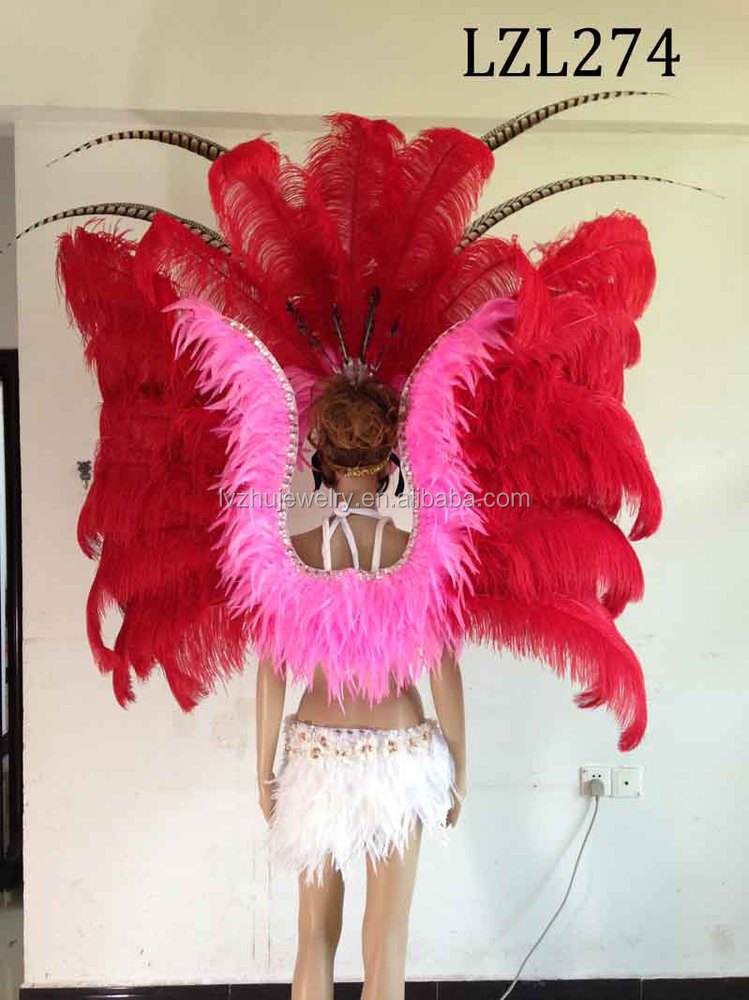 Showgirl/Dance Burlesque Feather samba costume LZL274