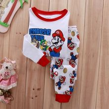 Two pieces super mario kids baby girls boys winter nightwear kids pajamas set sleepwear pijamas kids