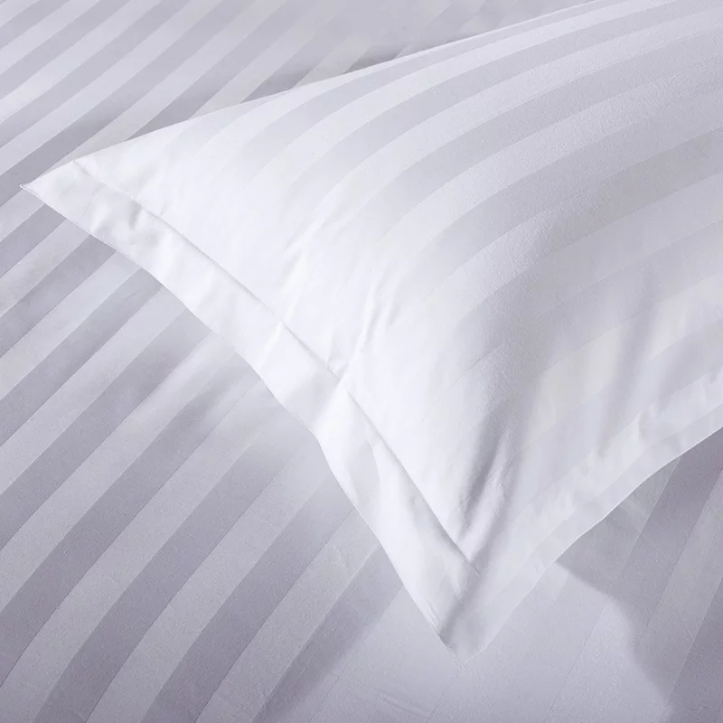 Cheap Hotel 3 Strip Bedding Set 4 Piece White Hotel Bedding Set