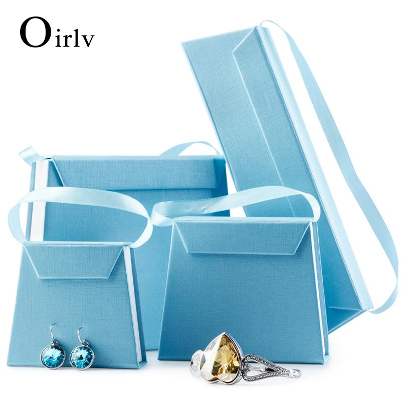 Oirlv Custom Logo Foldable Cardboard Packaging Box With Handle Ribbon Necklace Bracelet Watch Magnet Blue Paper Jewelry Gift Box