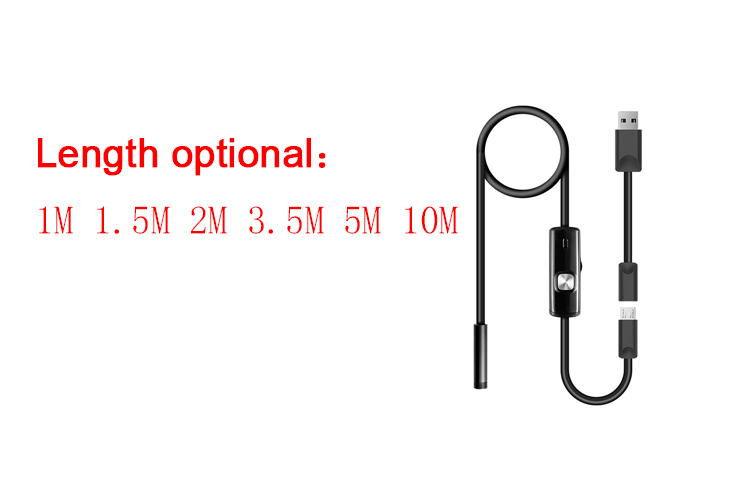 "Android Endoscope 5.5mm Lens 5M Cable Waterproof 6 LED 1/9"" CMOS Mini USB Endoscope Inspection Camera"