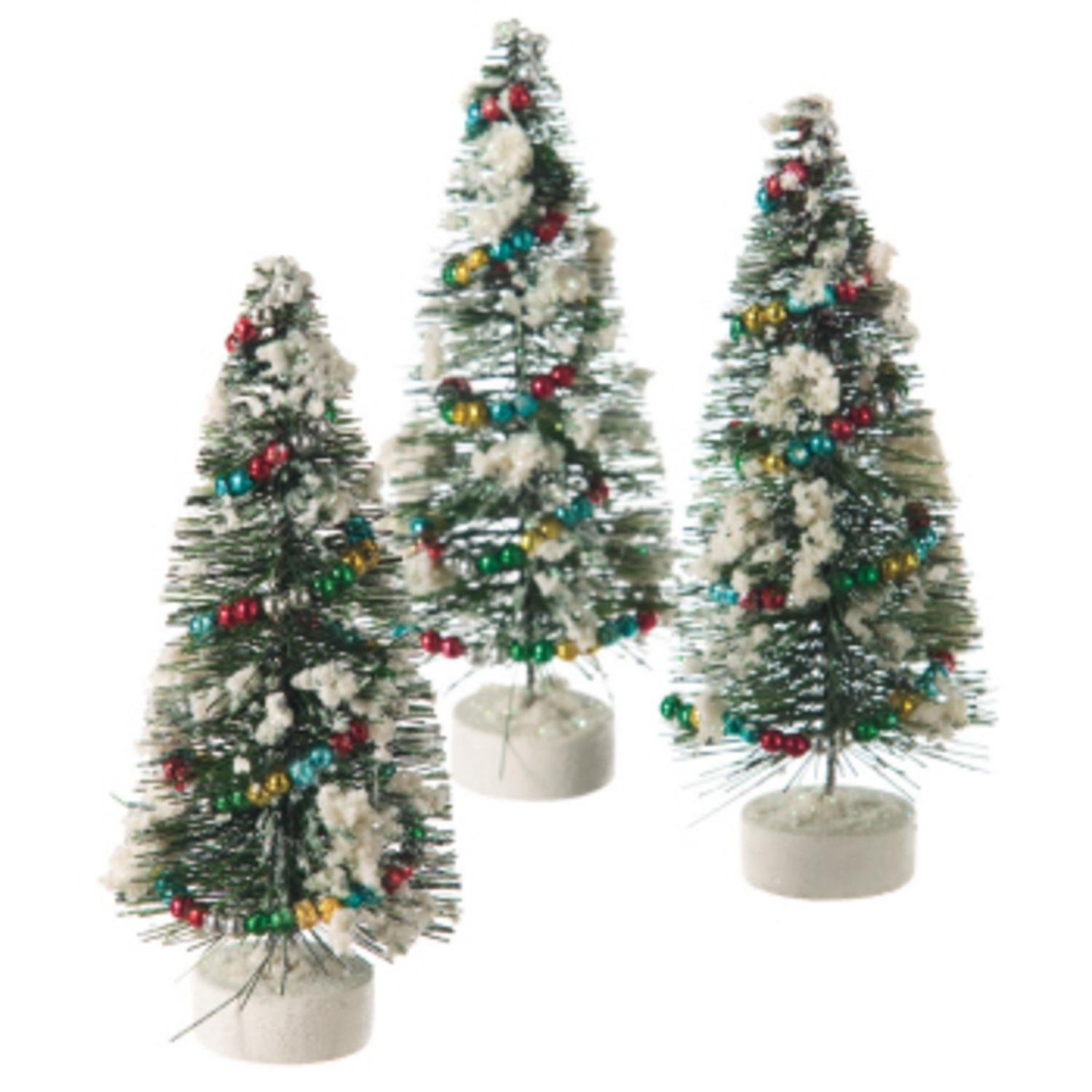 get quotations pack of 3 flocked pine multi colored garland table top christmas trees 7