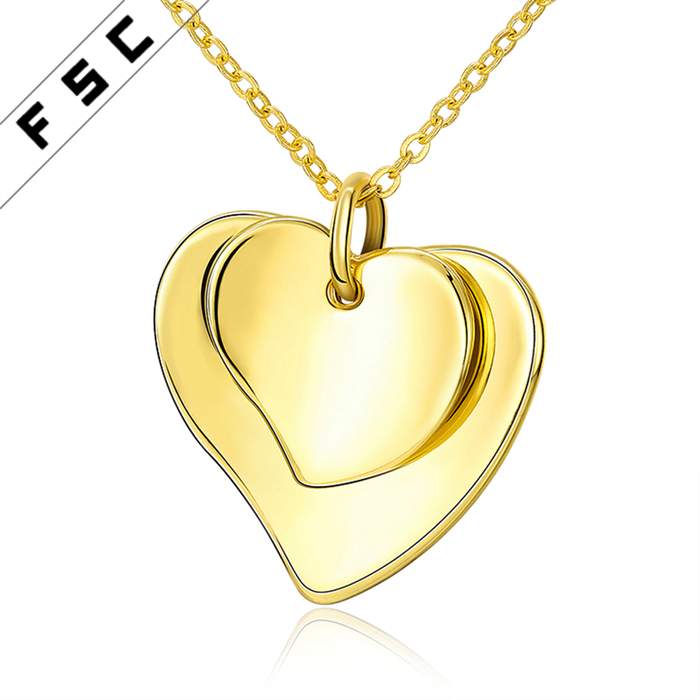 Fashion factory price heart shape pendant custom made stainless steel necklace for women