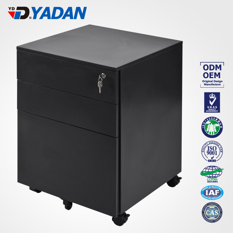 Customize office furniture steel mobile pedestal cabinet With 3 Drawer