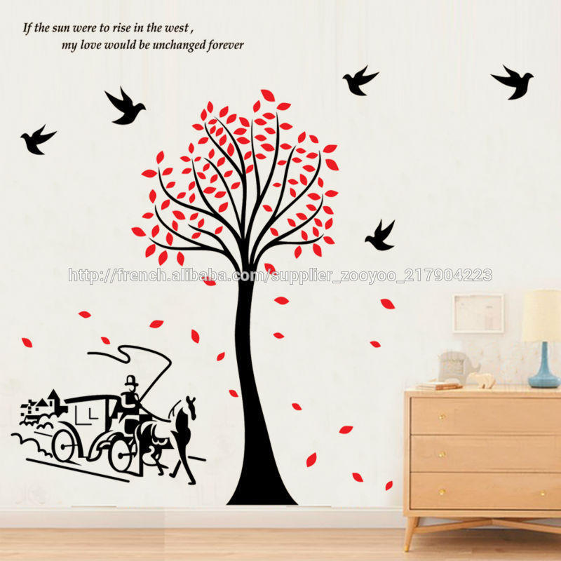 zy2178 oiseaux arbre pvc mural transport stickers papier d coratif adh sif auto magasins de. Black Bedroom Furniture Sets. Home Design Ideas