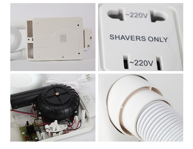 Quality assurance wall mounted ABS body/ skin for hotel bathroom hair dryer