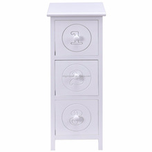 White Wooden Bedside Table Nightstand Cabinet Bedroom Furniture Storage Drawers