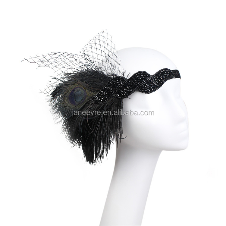 Black Feather Headpiece Flapper 1920s Great Gatsby Headband Vtg Beaded 916