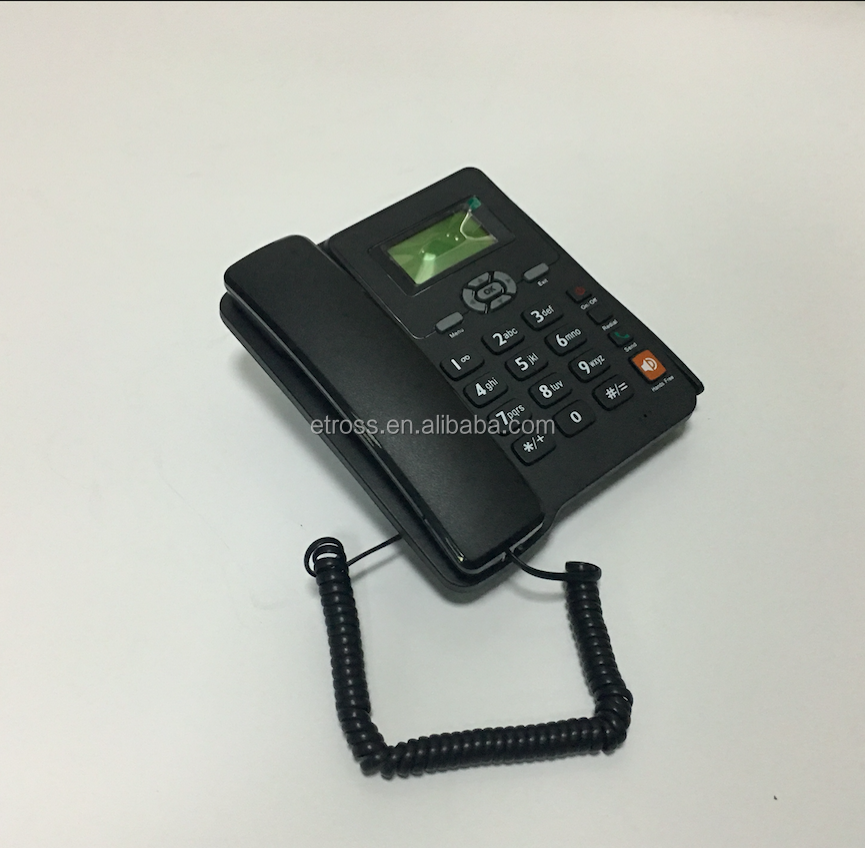 Quad band gsm fixed phone with fm /2 sim slot