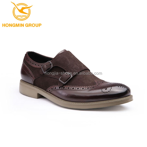 2018 hot sale new fashion double monk strap suede cow china casual men leather shoe