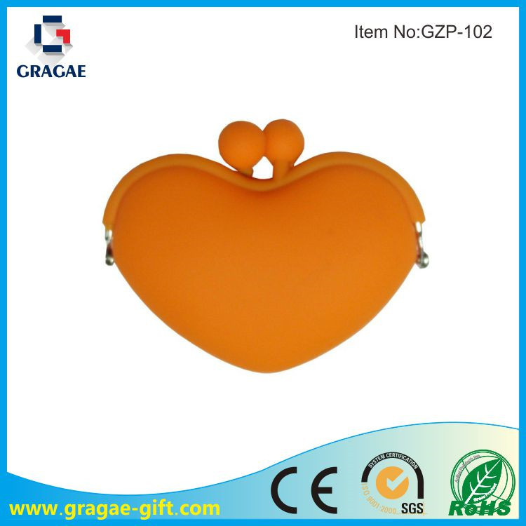 Lovely Heart Shaped Silicone Zero Coin Purse & Silicone Wallet