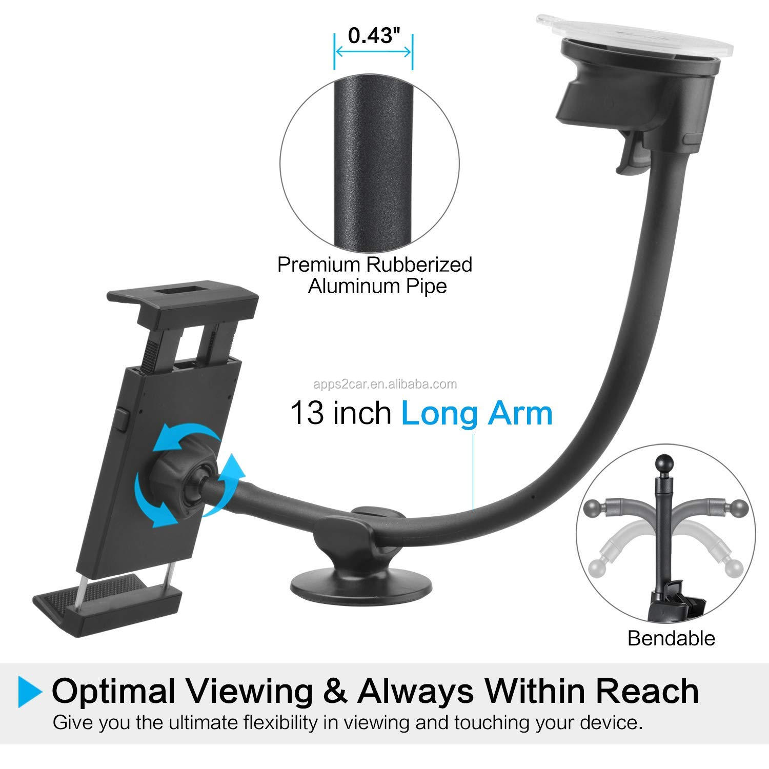 Apps2car Suction Cup Tablet Mount Holder for Car 360 Degree Long Flexible Smart Phone Holder for Ipad Surface Galaxy Tab
