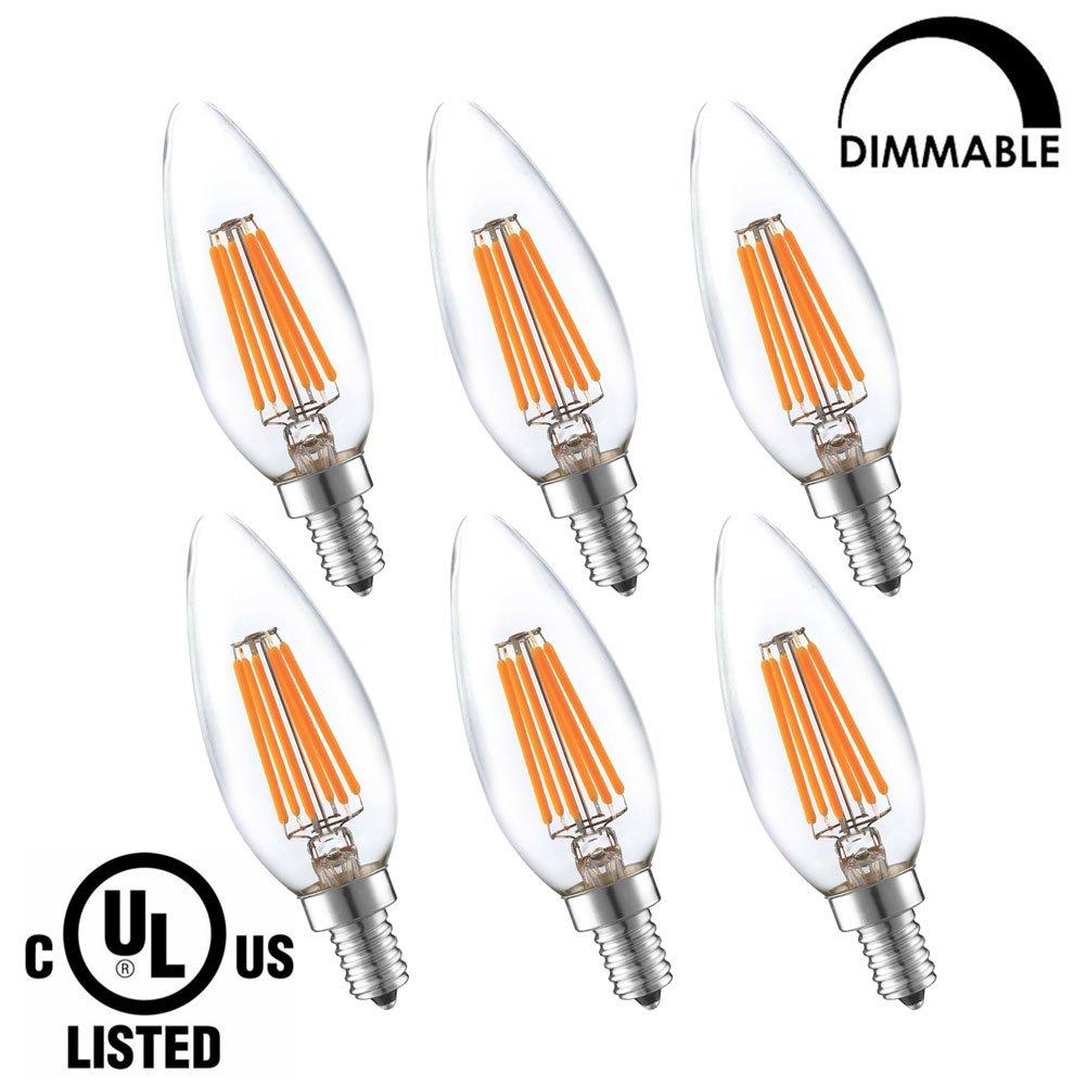 LightStory LED Candelabra Bulb, LED Chandelier Bulb, B10 6W E12 Base 2700K 600 Lumen, 60W Equivalent LED Bulb, Dimmable LED Light Bulb, UL Listed (6 Pack)