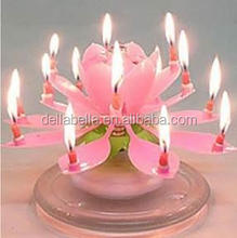 Wholesale magic flower shape musical lotus candle for birthday