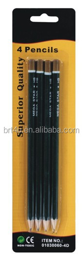 High quality wooden pencil, pencil without eraser, 4 pack black color