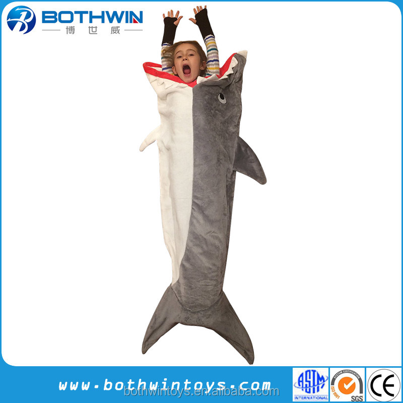 100 % Polyester Machine Washable New Design Gray Shark Blanket