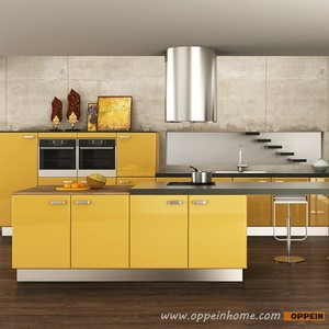 Malaysia Project Modern Lacquer Yellow Kitchen Cabinet
