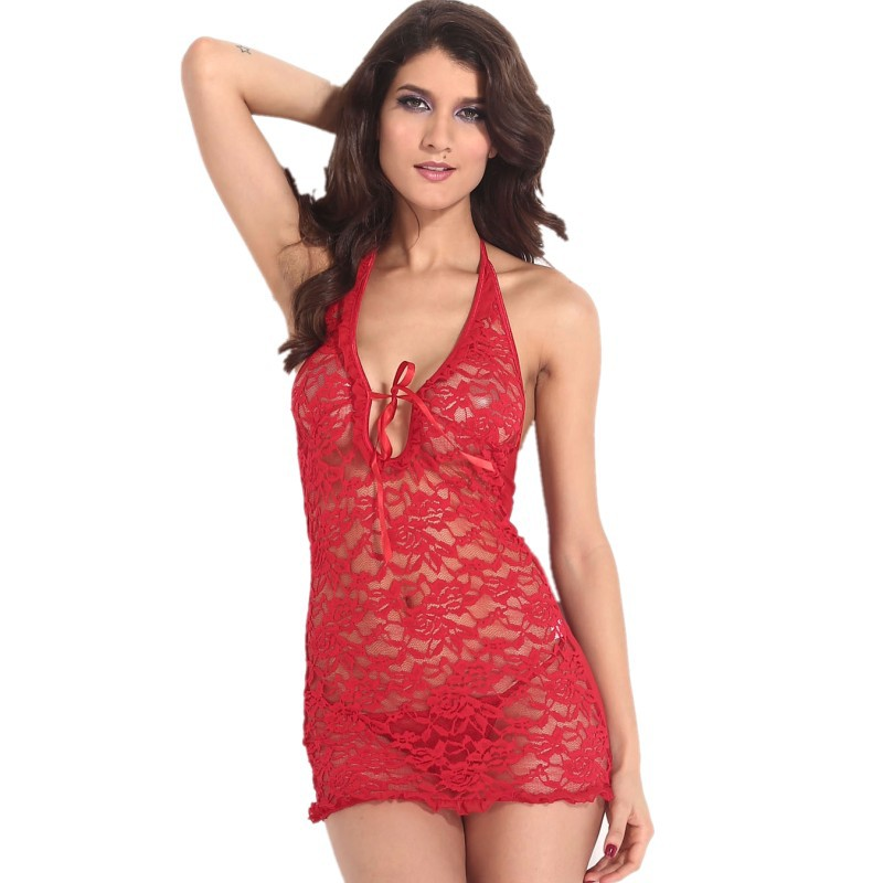 2015 Summer style sexy transparent lace lingeries red hot sexy sheer lace chemise with thong lingerie women sleepwear 21075