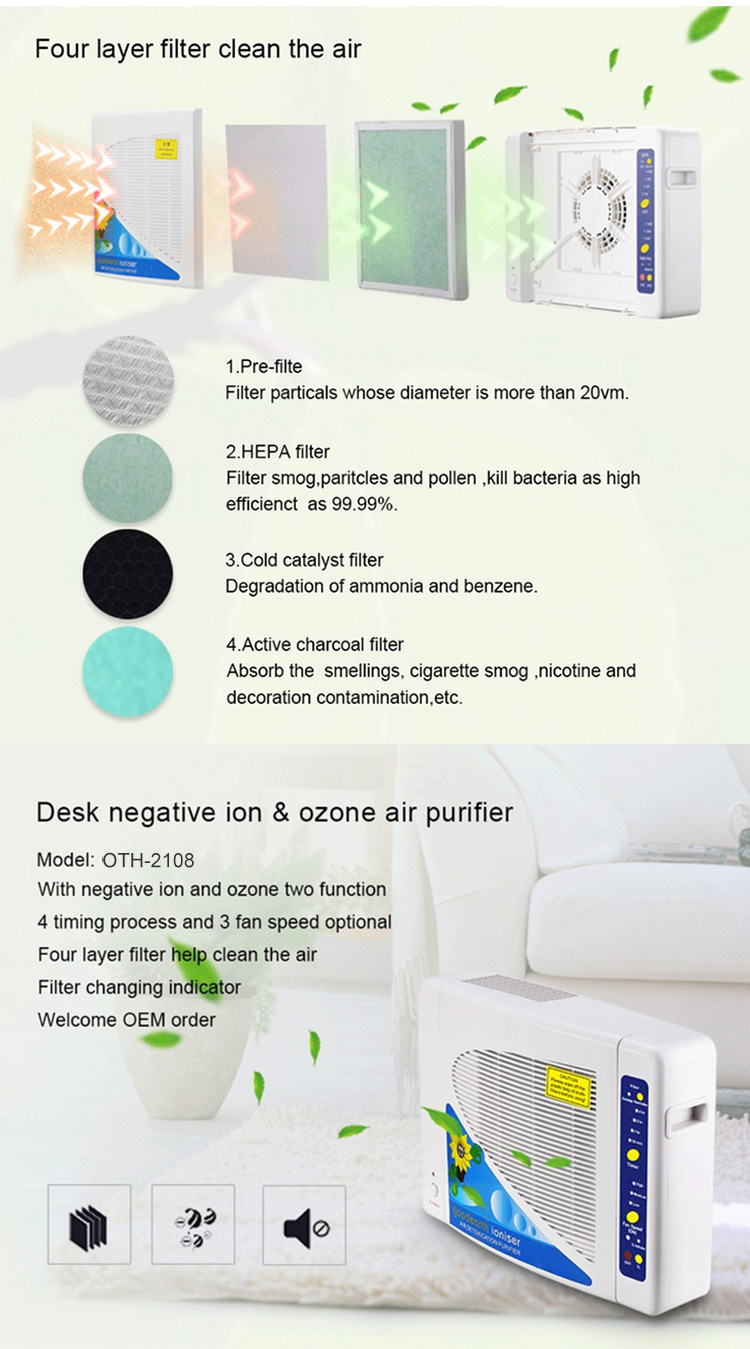 Best rated hotel room air ionizer portable air purifier OTH-2108 for home office