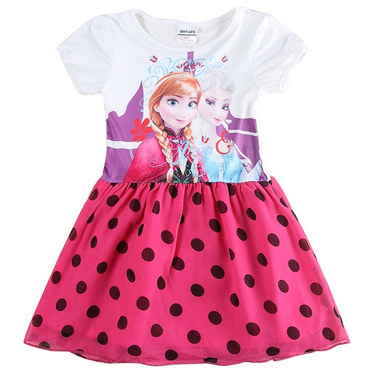 H5716 Wholesale Elsa Anna Pattern Summer Girl Dress Kids Clothes Wholesale,Children Clothing Nova Brand Cartoon Red Dot Dresses