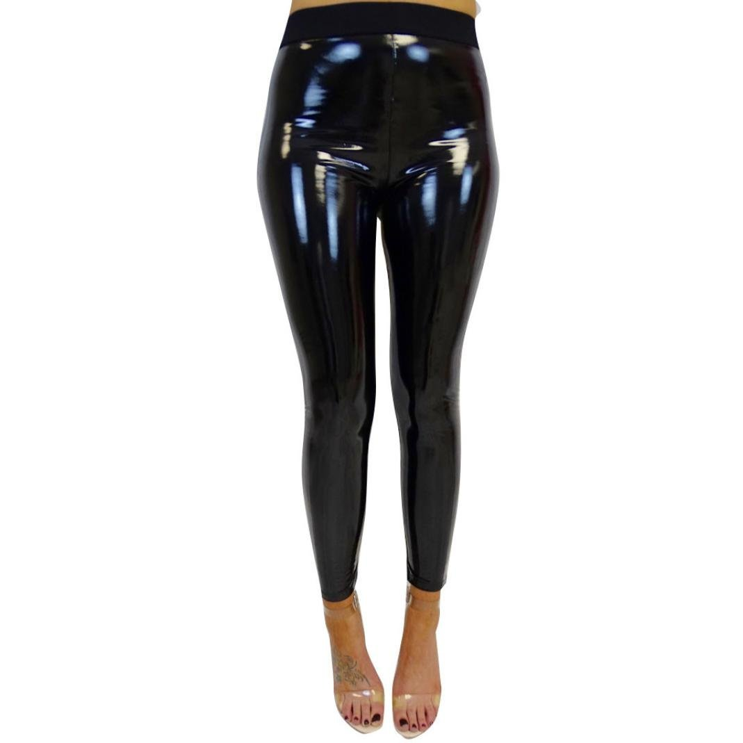506c236419169a Get Quotations · Vicbovo Womens Shiny Metallic Wet Look Skinny High Waist  Faux Leather Leggings Pants Black for Night