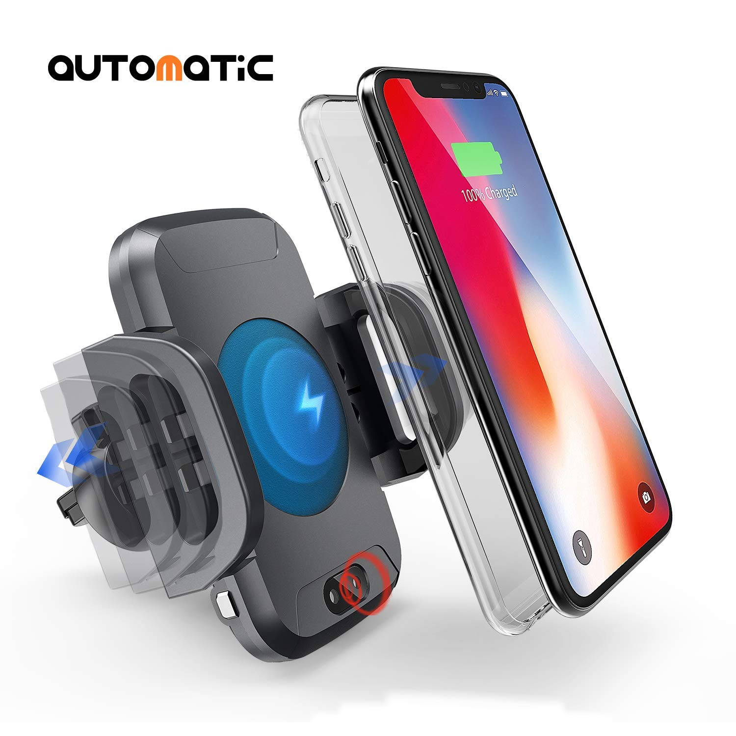 Wireless Car Charger Mount, DREAMORE Automatic Car Wireless Charger Air Vent Phone Holder, 10W Fast Wireless Charging for Samsung Galaxy S9 S8 S7 Edge, Note 8, Standard Charge for iPhone X, 8 Plus