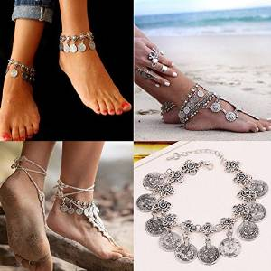 Boho Silver Coin Tassel Gypsy Festival Turkish Tribal Ethnic Anklets Jewelry New