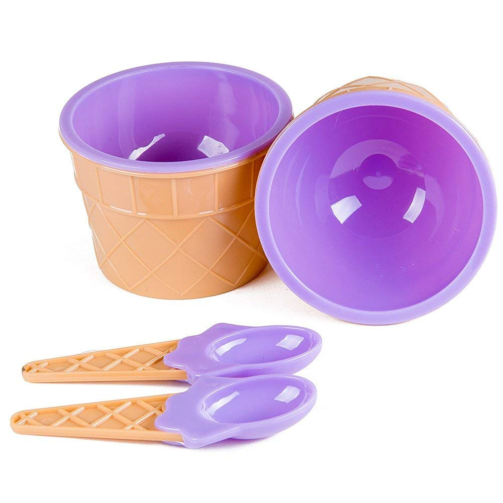 2 Pcs Plastic Sundae Ice Cream Frozen Yogurt Cups with Spoons Ice Cream Dessert Bowls, Purple