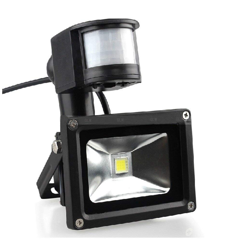 10W LED Motion Sensor Flood Lights, Waterproof IP65, Warm White(2800-3000K), Super Bright PIR Security Lights, 95-265V No Plug