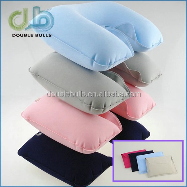 Inflatable Travel Compact Neck U Rest Pillow Air Cushion for Travel Office Camp w/Eye Mask