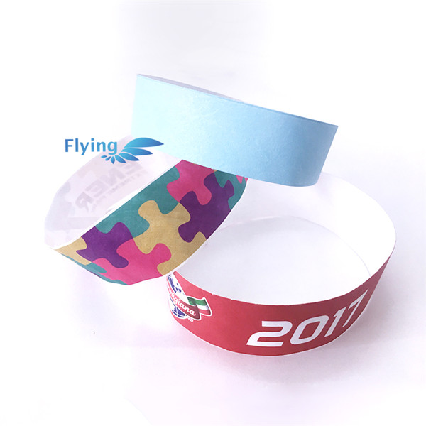 promotional items 1 inch printed barcode paper Event Tyvek Paper Wristbands
