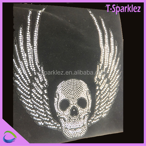 Bedazzled Iron on Transfers Strass Hot Fix Motif Skull Designs