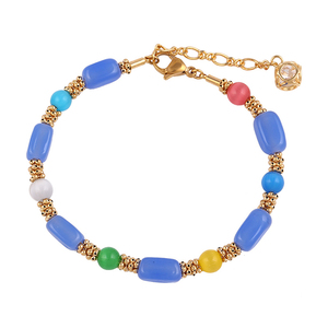 74291 Xuping top quality hot sales multiply colors plastic bead trending gold chains bracelet
