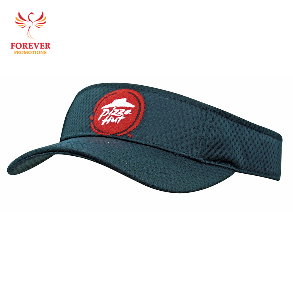 Wholesale Custom 100% polyester breathable Sports Mesh Sun Visor Cap Embroidery Your Custom Logo