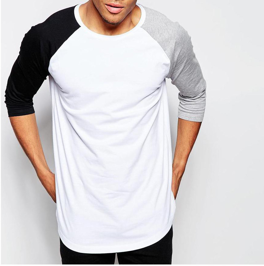 34 Sleeve two-color long sleeve T-Shirt With Contrast Raglan Sleeves Shirt 84c419f462d