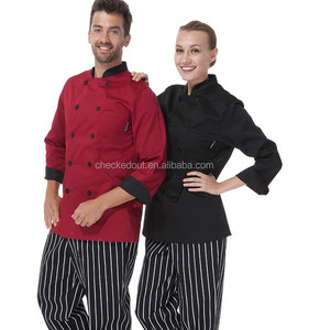 Long Sleeves Red wine and Black Chef Jackets and chef uniform