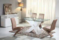 modern wooden glass MDF high glossy room furniture dining table set