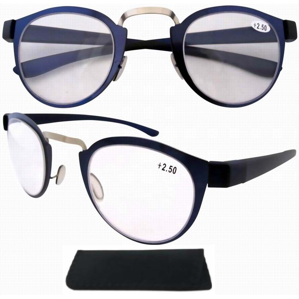 R11042 Stainless Steel Frame Rim Plastic Arms Retro Silver/Blue Reading Glasses W/pouch +1.0/1.25/1.5/1.75/2.0/2.25/2.5/3.0/3.5