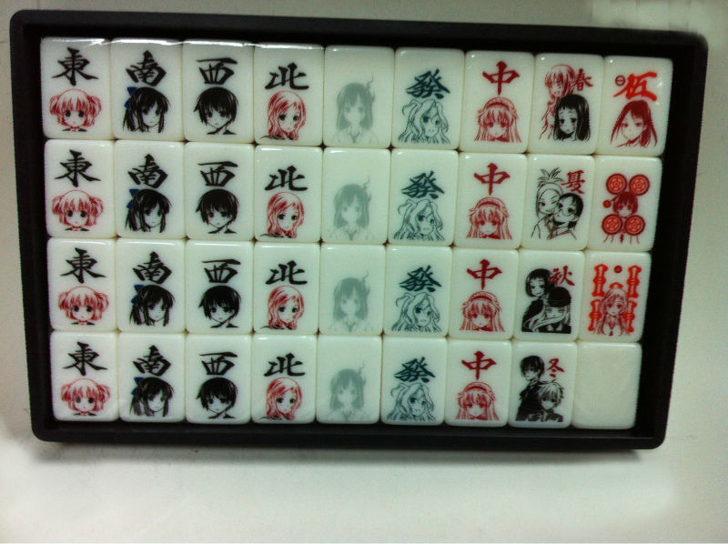 Colorful Japanese Mahjong pieces