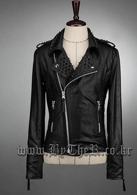 6ae024d2e2 2019 Black Oblique Zipper Rivets Short Coat New Design Leather ...